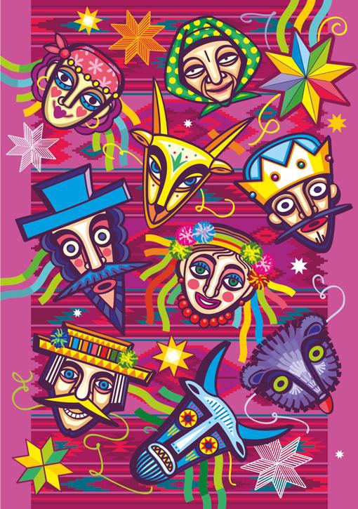2020 UNA Christmas Cards artist Iryna Korchuk 6-Masks
