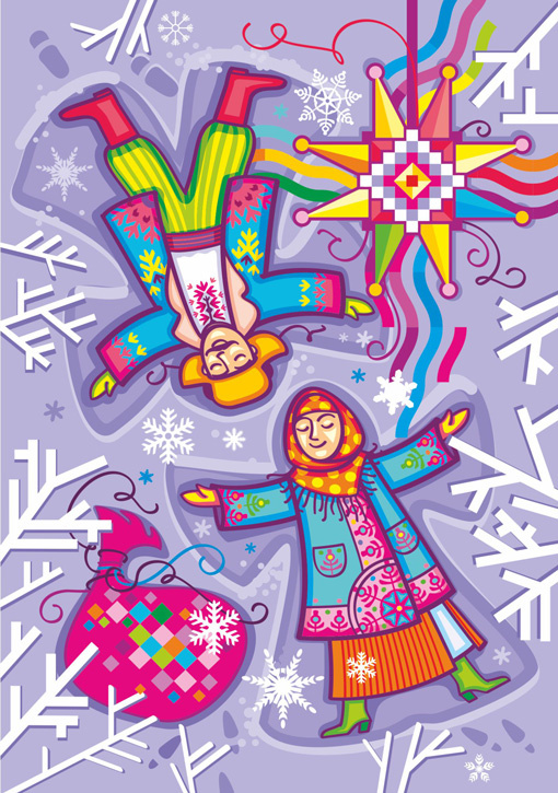 2020 UNA Christmas Cards artist Iryna Korchuk 9-Boy-and-girl