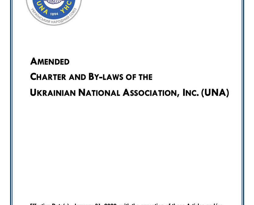 Charter and By-Laws of the Ukrainian National Association, Inc.