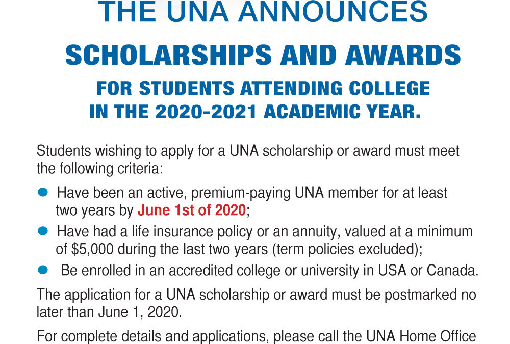 Scholarship opportunities for the 2020/2021 academic year!