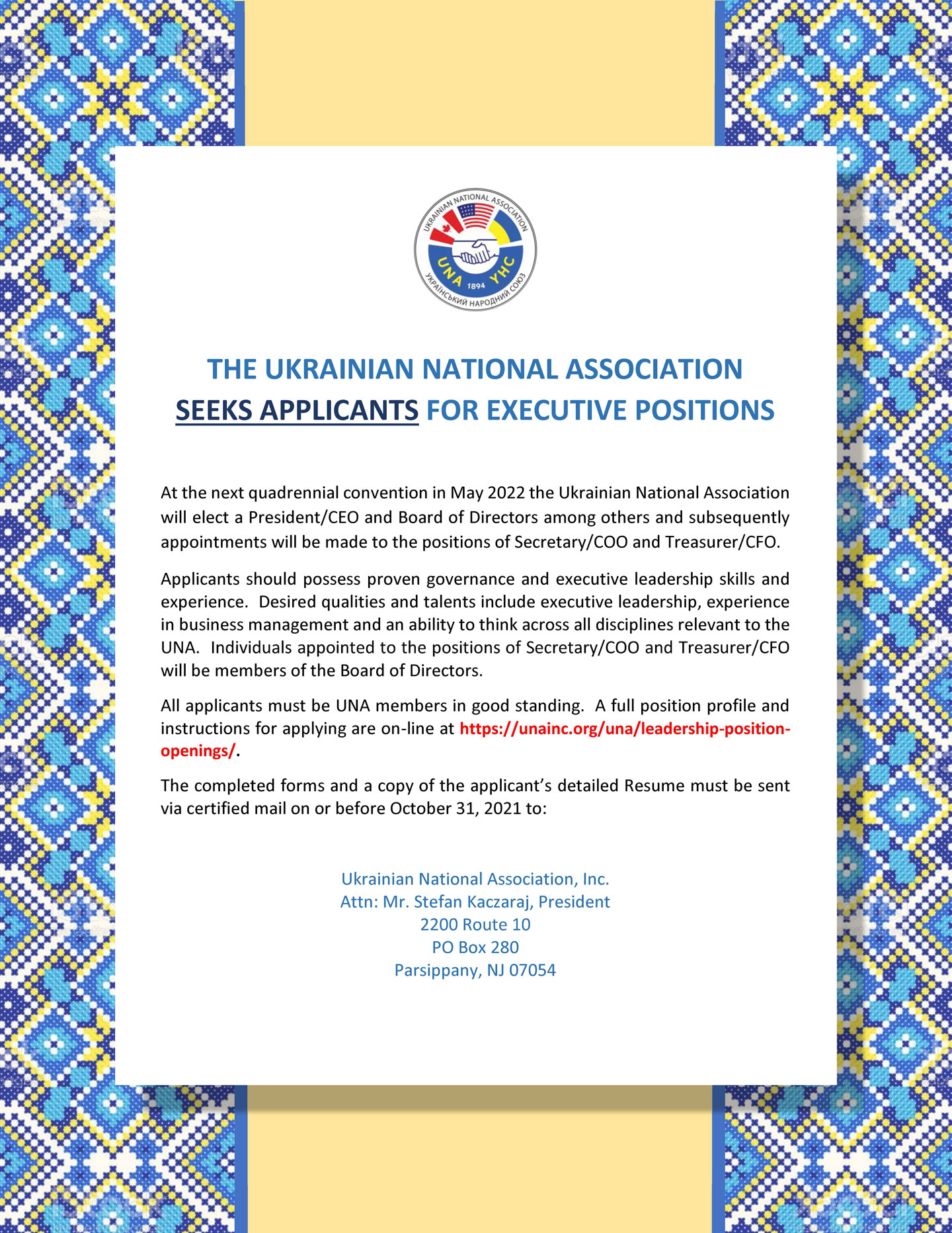 The Ukrainian National Association Seeks Applicants For Executive Positions